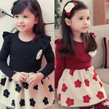 1PC Kids Girls Skirts Flower Necklace Ruffled Long Sleeve Pageant Costume 1-6Y