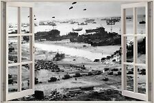 Huge 3D Window Army D Day landing View Wall Stickers Decal Wallpaper Mural