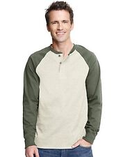 Hanes Adult Beefy-T Long-Sleeve Henley Shirt with Contrast Sleeves - style W5521