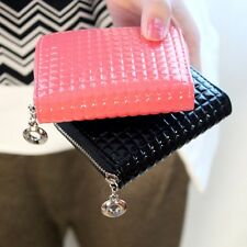 New Women  Printing Plaid Bag Patent Leather Purse Coin Pocket Cute Wallet