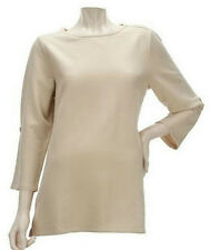 NEW SUSAN GRAVER Brushed French Terry Roll Tab 3/4 Sleeve Top