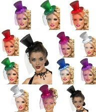 LADIES MINI PARTY TOP HAT FOR HEN NIGHT FANCY DRESS - GLITTER TOPHAT & VEIL