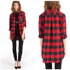 New Women Button Lapel Top Long Sleeve  Blouse Casual Shirt Black and Red Check