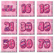 13th-100th Pink Glitz Napkins Birthday Party Supplies Decorations Tableware