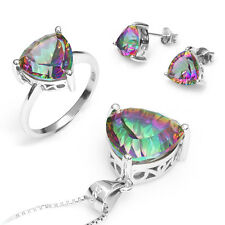 Genuine Mystic Fire Rainbow Topaz Earrings Pendant Ring SET 925 Sterling Silver