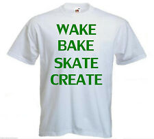 Mens Wake Bake Skate Create Funny Cannabis Weed T-shirt