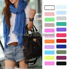 New Girls Women's Fashion Pure Candy Color Crinkle Soft Scarf Wrap Shawl HOT