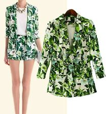 Free Shipping Fashion Womens One Button Green Leaves Blazers Outwears Tops MPH