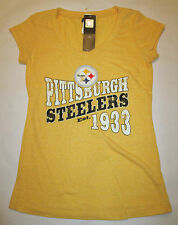 Pittsburgh Steelers Women's Yellow  Short SleeveT-Shirt