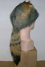 NEW  GRAY FOX MOUNTAIN MAN FUR HAT WITH FACE MADE IN USA