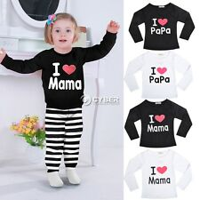 Babys Clothes Girls Boys Long Sleeve T-Shirt Tops I Love Papa Mama 2-9Y DZ88