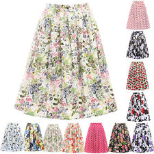 IN 7 Styles Short Vintage Floral High Waist Pleated Midi Skirt Ball Swing Skirts