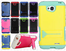 LG Optimus Exceed 2 VS450 Hybrid Silicone Rubber Skin Case Hard Kick Stand Cover