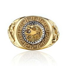 Men's  Band Ring Cool Lion Eagle Star 18K GP Yellow Gold Plated Size 8-12.5 New