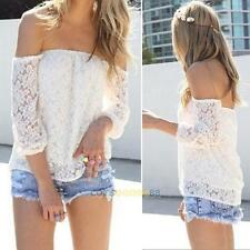 2014 New Hot Women Sexy White Lace Off-shoulder Loose Tops Casual T-Shirt Blouse