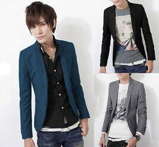HOT Men Stylish Casual Slim Fit One Button Suit Pop Blazer Black Coat Jacket