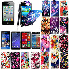 For Various New Phones Printed Leather Magnetic Flip Case With Free Guard+Stylus