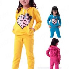2014 2PCS Cute Heart Printed Kids Girls Suit Kids Long Sleeve Tops+Pants Outfit