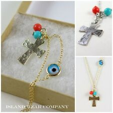 NEW STERLING SILVER BRUSH FINISH CROSS NECKLACE CORAL TURQUOISE & GLASS EVIL EYE