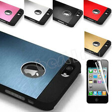 For iPhone 4 4S Hybrid Aluminum Ultra-thin Hard Cover Case w/ Screen Protector