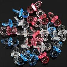 50Pcs Clear Baby Shower Favors Mini Pacifiers Girl Boy Party Game Decorations