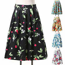 CHEAPEST Vintage 50s Rockabilly Floral High Waist Housewife Party Dress Skirt