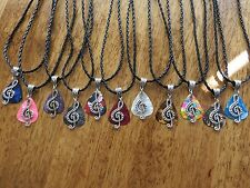 """Handcrafted Silver Music Note Charm Guitar Pick Necklace Your Choice Color 18"""""""