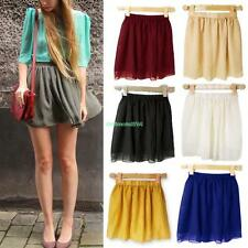 Vintage Double-layer Chiffon High Waist Pleated Mini Short Dress Pompon Skirt