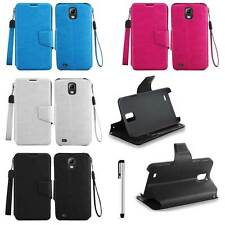 For Samsung Galaxy IV S4 ACTIVE i537 Leather Wallet ID Flip Cover + Stylus