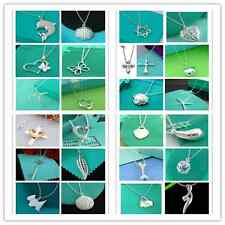 Hot! Wholesale Fashion gift jewelry 24 style solid silver Fine necklace+gift bag