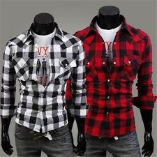 Fashion Men Casual Plaids Check Slim Fit Stylish Dress Shirts Tee Tops Red Black