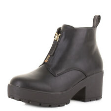 WOMENS BLOCK HEEL PLATFORM FRONT ZIP CLEATED BLACK LEATHER STYLE ANKLE BOOT SIZE