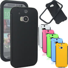 Wrap Up Hybrid Hard GEL Case Slim Matte Cover Built In Screen For HTC ONE 2 M8