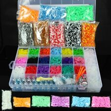 480-12800 Colorful Rainbow Rubber Loom Bands Bracelet Making Kit Set With S-Clip