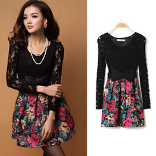 Sexy Hot Women Lace Splicing Painting Flower Pattern Ball Gown Mini Dress + Belt