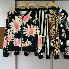 6 Style Hot Women Casual Stand Collar Top Printed Zip Coat Jacket Outerwear New
