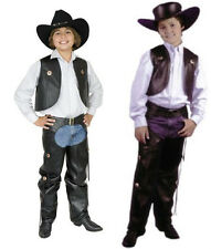 CHILD COWBOY WESTERN COSTUME WILD WEST FAUX LEATHER CHAPS & VEST KIDS BOYS