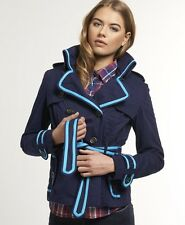 New Womens Superdry Cropped Vintage Mac Jacket Churchill Navy SD