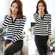 Womens Striped Slim Blouse Long Sleeve Casual Career V-Neck Tops T-shirt S-XL
