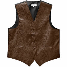 New men's tuxedo vest waistcoat only paisley pattern Brown prom wedding