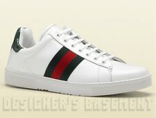 GUCCI Mens white Leather ACE green & red Web Ribbon SNEAKERS shoes NIB Authentic