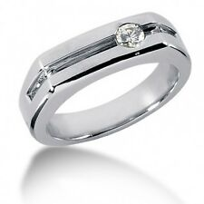 0.23CT Men's Round Brilliant Cut Diamond Wedding Band Ring  in 14kt White Gold