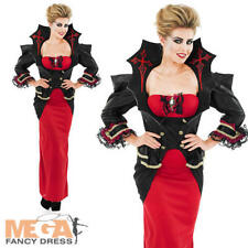 Deluxe Vampiress Halloween Ladies Fancy Dress Womens Adult Vampire Costume 8-30