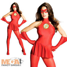 Sexy Flash Ladies Superhero Fancy Dress Womens Adult Party Costume Outfit New