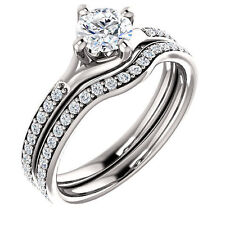 1/2ct 5mm Round FB Moissanite 14K White Gold Engagement Ring &matching band set