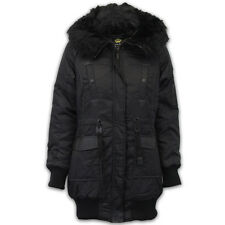 Ladies Parka Jacket Brave Soul Womens Coat Padded Faux Fur PU PVC Hooded Winter