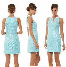 LILLY PULITZER AIRY SHIFT SPA BLUE DRIPPING METALLIC SANDS NWT 8,12,14