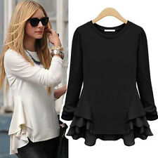 New Women Long Sleeve Pullover Chiffon Blouse Tops Fashion Refulles Beige Shirt