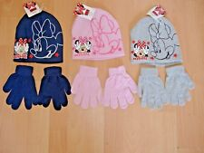 GIRLS MINNIE MOUSE HAT AND GLOVES SET DISNEY PINK GREY NAVY AGES 2-4 4-8 YEARS