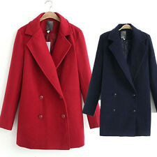 New Women Winter Double-breast Thicken Lined Cotton Woollen Coat Jacket Outwear